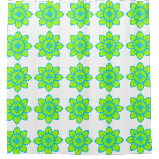 Bright Summer Blue and Green Flowers Shower Curtain