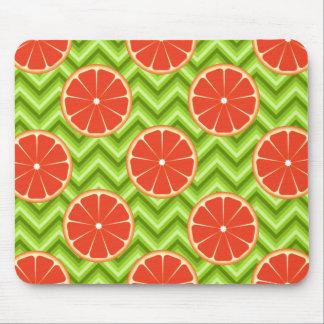 Bright Summer Citrus Grapefruits on Green Chevron Mouse Pad