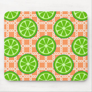 Bright Summer Citrus Limes on Coral Square Tiles Mouse Pad