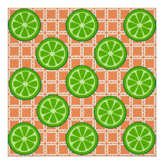 Bright Summer Citrus Limes on Coral Square Tiles Print
