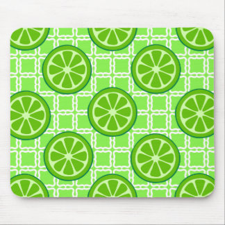 Bright Summer Citrus Limes on Green Square Tiles Mousepads