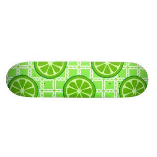 Bright Summer Citrus Limes on Green Square Tiles Skateboard