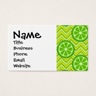 Bright Summer Citrus Limes on Green Yellow Chevron Business Card