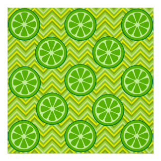 Bright Summer Citrus Limes on Green Yellow Chevron Posters