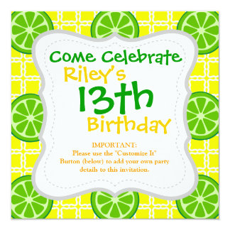 Bright Summer Citrus Limes on Yellow Square Tiles 13 Cm X 13 Cm Square Invitation Card