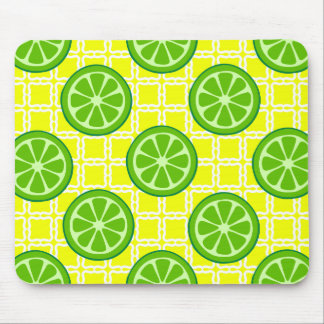 Bright Summer Citrus Limes on Yellow Square Tiles Mousepad