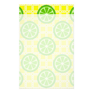 Bright Summer Citrus Limes on Yellow Square Tiles Stationery