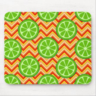 Bright Summer Citrus Limes Orange Yellow Chevron Mouse Pad