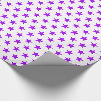 Bright Summer Grape Stars on White Wrapping Paper