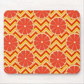 Bright Summer Grapefruit on Orange Yellow Chevron Mouse Pad