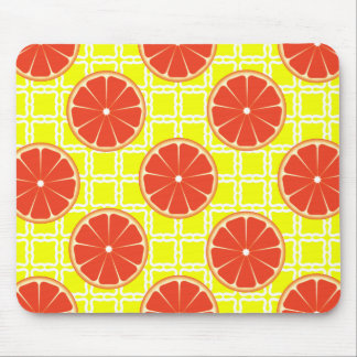 Bright Summer Grapefruits on Lemon Yellow Squares Mouse Pad