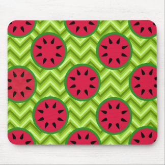 Bright Summer Picnic Watermelons on Green Chevron Mouse Pad