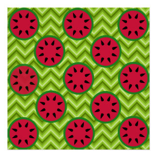 Bright Summer Picnic Watermelons on Green Chevron Print