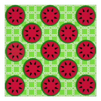 Bright Summer Picnic Watermelons on Green Squares Posters
