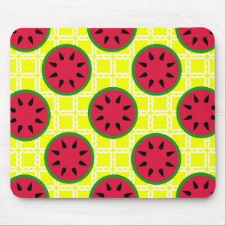 Bright Summer Picnic Watermelons on Yellow Squares Mouse Pad