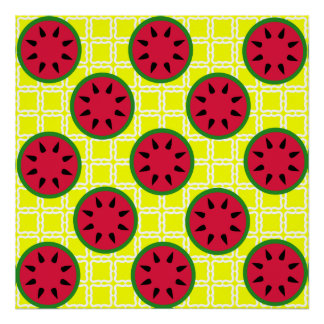 Bright Summer Picnic Watermelons on Yellow Squares Posters
