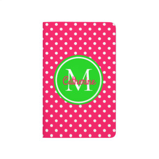 Bright Summer Pink and Green Polka Dot Monogram Journal