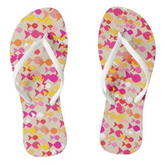 Bright Summer Pink Cheerful Fish Pattern Cheerful Thongs