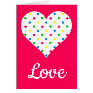 Bright Summer Polka Dot Heart on Pink Card
