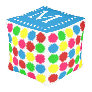 Bright Summer Polka Dots Monogram on Blue Pouf