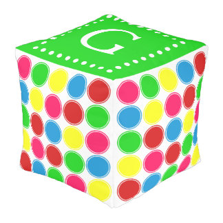 Bright Summer Polka Dots Monogram on Green Pouf