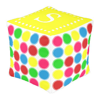 Bright Summer Polka Dots Monogram on Yellow Pouf