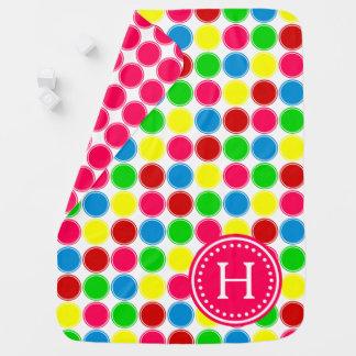 Bright Summer Polka Dots Monogram Reversible Baby Blanket