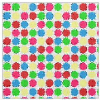 Bright Summer Polka Dots on White Fabric