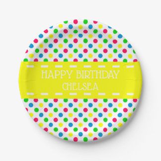 Bright Summer Polka Dots on White Personalized Paper Plate
