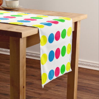 Bright Summer Polka Dots on White Short Table Runner
