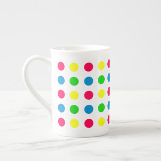 Bright Summer Polka Dots on White Tea Cup