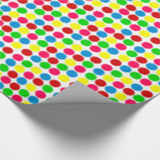 Bright Summer Polka Dots on White Wrapping Paper