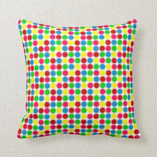 Bright Summer Small Polka Dots on White Cushion