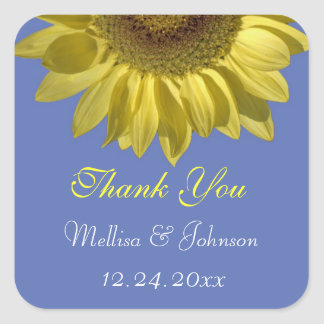 bright summer  sunflower thank you wedding favor square sticker