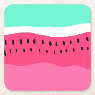 Bright summer watermelon colorblock pink turquoise square paper coaster