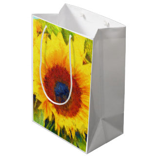 Bright Sunflower Art Medium Gift Bag