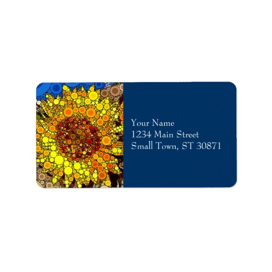 Bright Sunflower Circle Mosaic Digital Art Print Address Label