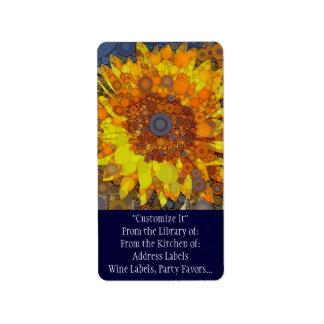 Bright Sunflower Circle Mosaic Digital Art Print Label