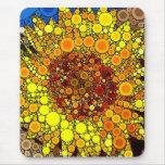 Bright Sunflower Circle Mosaic Digital Art Print Mouse Pad