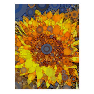 Bright Sunflower Circle Mosaic Digital Art Print Postcard