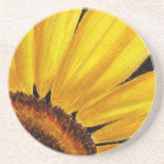 Bright Sunflower - Oil pastel print Drink Coasters