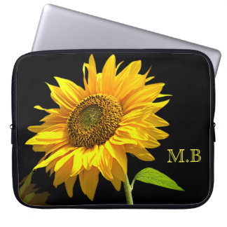 Bright Sunflower on Black Background Laptop Sleeve