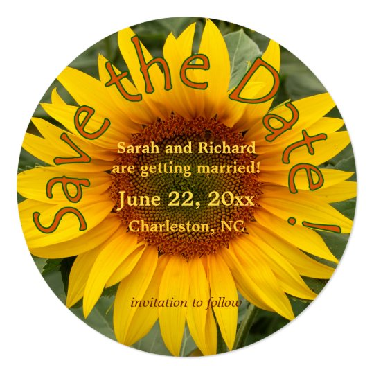 Bright Sunflower Save the Date Card