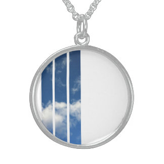 Bright Sunny Blue Sky Stripe Round Necklace
