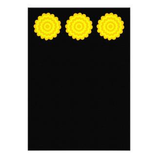 Bright sunny yellow flower. On Black. Custom Announcement