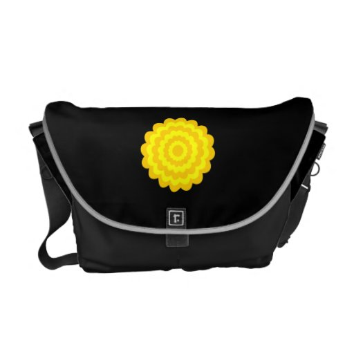 Bright sunny yellow flower. On Black. Commuter Bag