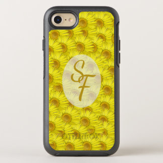 Bright Sunny Yellow Flowers Pattern Monogram OtterBox Symmetry iPhone 7 Case