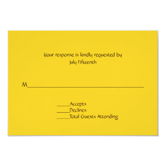 Bright Sunny Yellow Wedding RSVP Card 9 Cm X 13 Cm Invitation Card