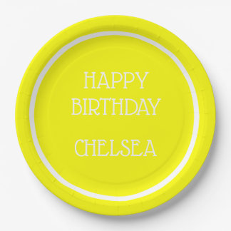 Bright Sunshine Yellow and White Personalized Paper Plate