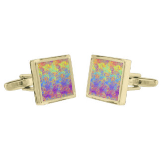 Bright Swirl Fractal Patterns Rainbow Psychedelic Gold Finish Cuff Links